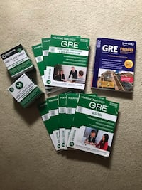 GRE prep books.  Including all 8 manhattan books last edition. Kaplan GRE premier and 1000 essential and advanced flash cards Washington, 20009