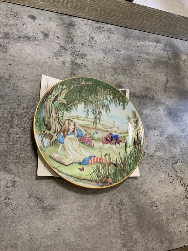 """Collector plate, home decor """" ALICE AND THE WHITE RABBIT """""""