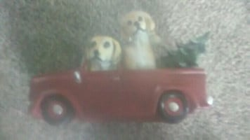 CHRISTMAS PUPPIES IN A TRUCK TABLE CENTERPIECE