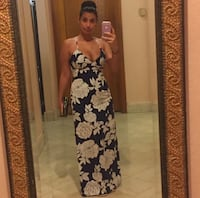 Navy blue and white floral dress Stafford, 22556