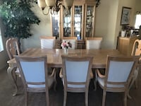 Light wood dining room table and hutch Phoenix