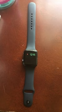 silver aluminum case Apple Watch with black Sport Band 403 mi