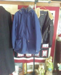 Quilted blue ladies hooded jacket