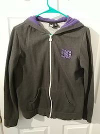 purple and black DC zip-up hooded jacket