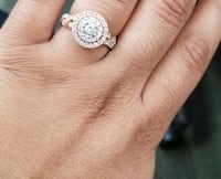 Reeds rose gold double halo twist engagement ring Virginia Beach, 23455