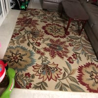 white and red floral area rug Crofton, 21114