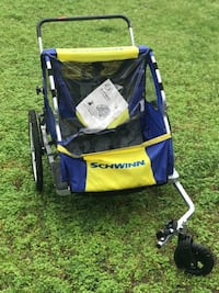 blue and yellow bicycle trailer Ivor, 23866