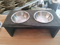 Rustic dog bowl stand