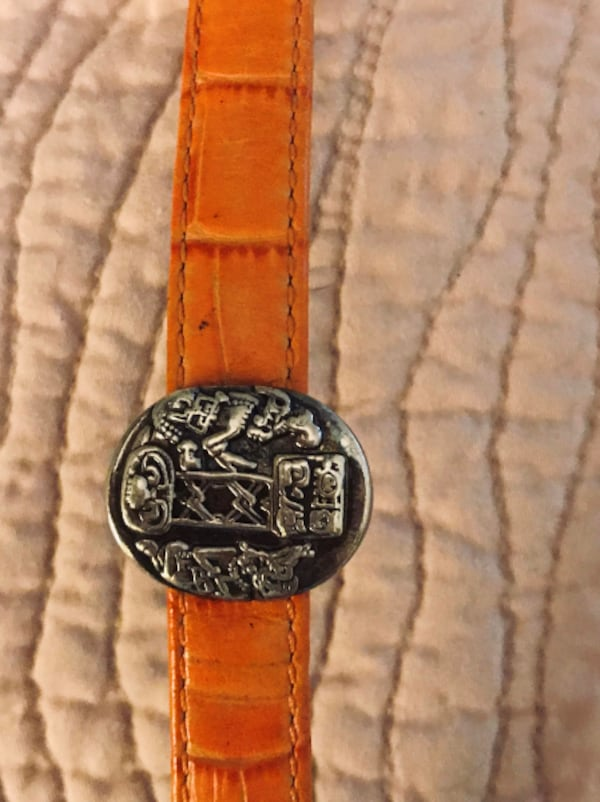 "Brand new genuine leather - sterling silver Mayan ""Musuem"" bracelet - matching earrings and ring  57dd7b43-3c20-497c-981f-bce48de8a139"
