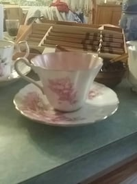white and pink floral ceramic teacup and saucer Franklin, 02038