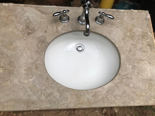 Used Beautiful Travertine Vanity Top W Sinkfaucet For Sale In