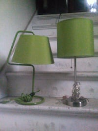 2 Green table or desk lamps