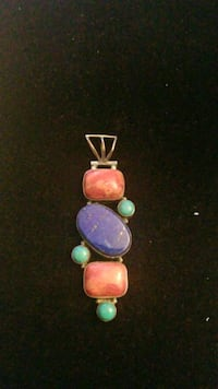 Sterling silver Indian handcrafted Lapis and Turquoise charm  Hyattsville, 20784