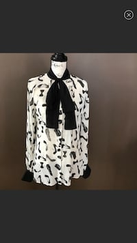women's black and white long-sleeve button-up shirt and black scarf screenshot Byron, 31008