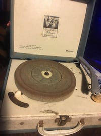 Blue and white vintage record player
