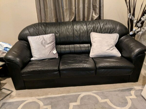 Admirable Used Black Leather Couch 3 Seater N 2 Seater For Sale In San Pdpeps Interior Chair Design Pdpepsorg
