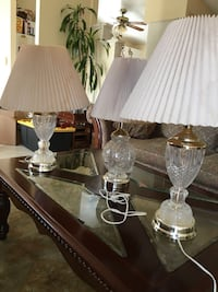 3 crystal lamps with shades