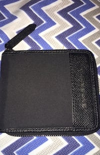 Men's Black Burberry Zip Around Bifold Coin Wallet
