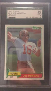 Joe Montana Rookie graded 96 SGC Murrieta, 92562