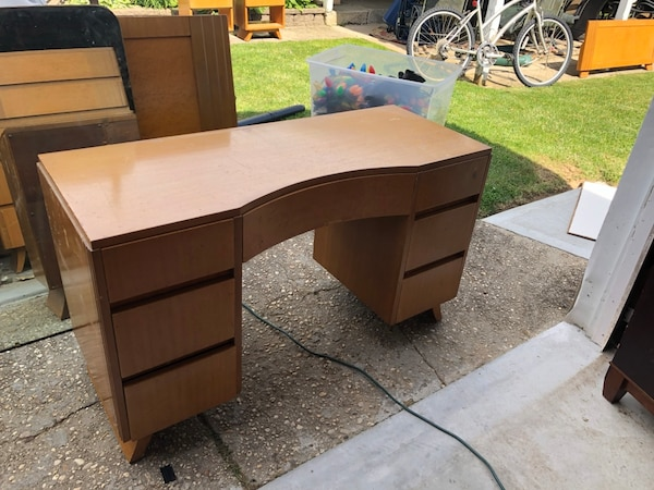 Remarkable Rway Mid Century Vanity With Mirror And Stool Well Built Solid Wood Ocoug Best Dining Table And Chair Ideas Images Ocougorg