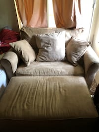 brown suede sofa chair with ottoman FAIROAKS