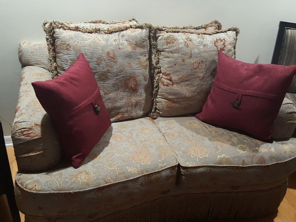 white and brown love seat