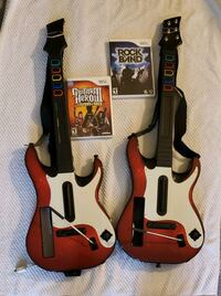 Red and white Wii guitars