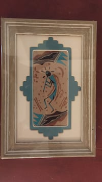 """Navajo sand painting. 9.5"""" by 6.5"""".  Has been sealed for years.  Excellent condition   Corrales, 87048"""