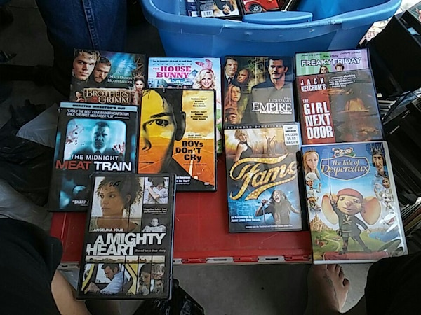 assorted movie DVD cases