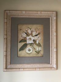 brown wooden framed painting of white flower Brampton, L7A 1H9