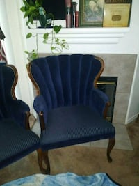 blue and brown wooden framed armchair North Las Vegas, 89032