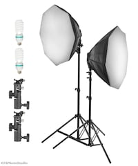 1000W PHOTO VIDEO CONTINUOUS SOFTBOX LIGHTING KIT + TWO FLASH ADAPTERS