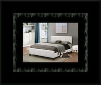 White platform bed with mattress and box all size 40 km
