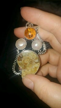 New ammonite fossil, pearl, amber silver pendant
