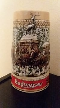 white and brown Budweiser ceramic beer stein 884 mi