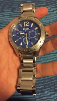 round silver-colored chronograph watch with link bracelet Wilson, 27893