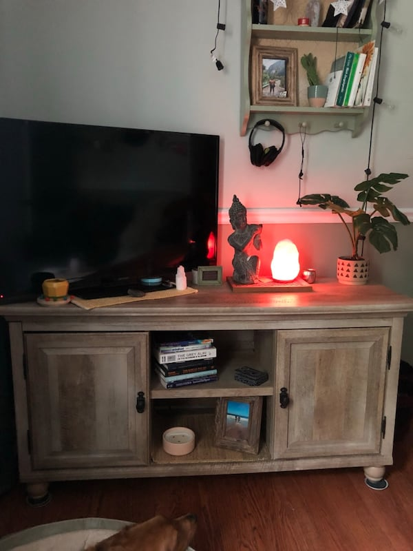 *Pending pickup* Tv stand/ coffee table with shelving and doors 0c17901c-63db-48da-a271-3b7ba8746acd
