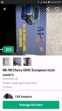 88-98 Chevy GMC European style covers