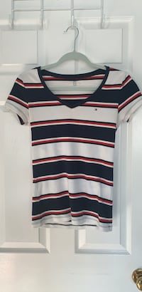 White, Red, and Blue Stripe Polo Shirt Oakville