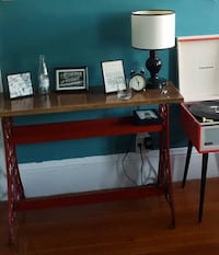 sewing machine table with Walnut top! null