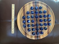 Marble Solitaire.  Round Wood with Blue Glass Marbles Vienna, 22182