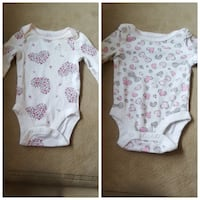 baby's white and pink onesie