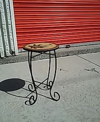 Rot iron table-plant stand,wood top Chicago, 60629