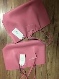 Pink and black leather tote bag  London, N6E 1B6
