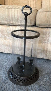Glass/bronzed metal 3-candle holder Mechanicsburg