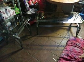 Refinished glass top matching end table n coffee table. In or outdoor