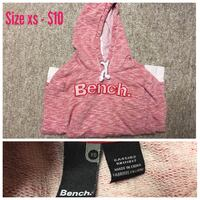 size XS toddler's pink Bench pullover hoodie collage