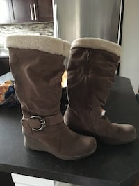 Brown suede side-zip wedge knee-high snow boots Calgary, T3M