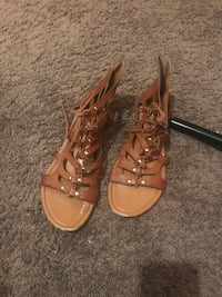 pair of brown leather open-toe gladiator sandals Oklahoma City