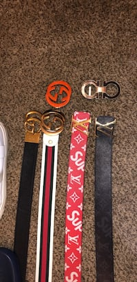 Three assorted color leather belts 2335 mi